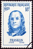 """FRANCE - CIRCA 1956: A stamp printed in France from the """"Famous Men """" issue shows Benjamin Franklin, circa 1956. — Stock Photo"""