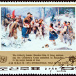 "NORTH KOREA - CIRCA 1979: A stamp printed in North Korea from the ""International Year of the Child "" issue shows Kim Il Sung with Childrens Corps Members in Maanshan, circa 1979. — Stock Photo #64564373"