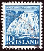 ICELAND - CIRCA 1935: A stamp printed in Iceland shows Dynjandi Waterfall, circa 1935. — Stock Photo