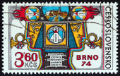 CZECHOSLOVAKIA - CIRCA 1974: A stamp printed in Czechoslovakia issued for the BRNO 74 National Stamp Exhibition shows Exhibition Allegory, circa 1974. — Stock Photo