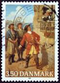 DENMARK - CIRCA 1990: A stamp printed in Denmark issued for the 300th birth anniversary of Admiral Tordenskjold (Peter Wessel) shows Tordenskjold and Karlsten's Commandant (Otto Bache), circa 1990. — Stock Photo