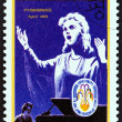 "NORTH KOREA - CIRCA 1988: A stamp printed in North Korea from the ""6th Spring Friendship Art Festival, Pyongyang "" issue shows singer (poster), circa 1988. — Stock Photo #66407269"