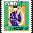 "YUGOSLAVIA - CIRCA 1969: A stamp printed in Yugoslavia from the ""New Year "" issue shows chimney sweep with ladder, circa 1969. — Stock Photo #66407483"