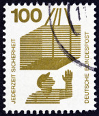 "GERMANY - CIRCA 1971: A stamp printed in Germany from the ""Accident Prevention"" issue shows crate on hoist, circa 1971. — Stock Photo"