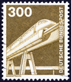 """GERMANY - CIRCA 1975: A stamp printed in Germany from the """"Industry and Technology"""" issue shows Electromagnetic monorail, circa 1975. — Stock Photo"""