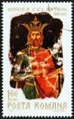 Romanya - yaklaşık 1968: Prens Mircea yaşlı 550 ölüm yıldönümü Prens Mircea, 1968 gösterir için verilen Romanya basılmış damga. — Stok fotoğraf