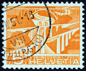 SWITZERLAND - CIRCA 1949: A stamp printed in Switzerland shows Railway viaducts over River Sitter, near St. Gall, circa 1949. — Stock Photo