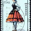 "SPAIN - CIRCA 1967: A stamp printed in Spain from the ""Provincial Costumes"" issue shows a woman from Alava, circa 1967. — Stock Photo #66989243"