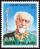 FINLAND - CIRCA 1974: A stamp printed in Finland issued for the 100th anniversary of the birth of Ilimari Kianto shows writer Ilimari Kianto, circa 1974. — Stock Photo