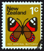 NEW ZEALAND - CIRCA 1970: A stamp printed in New Zealand shows Red Admiral butterfly (Vanessa gonerilla), circa 1970. — Stock Photo