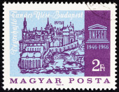 HUNGARY - CIRCA 1966: A stamp printed in Hungary issued for the 20th Anniversary of UNESCO and 72nd Executive Board Session, Budapest shows Buda Fortress, after Schedel's Chronicle (1493), circa 1966. — Stock Photo