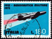 "ITALY - CIRCA 1973: A stamp printed in Italy from the ""50th Anniversary of Military Aviation "" issue shows Caproni Campini N.1 jet airplane, circa 1973. — Stock Photo"