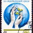 USSR - CIRCA 1982: A stamp printed in USSR issued for the 10th anniversary of U.N. Environment Program shows Globe and hands holding Seedling, circa 1982. — Stock Photo #68743387