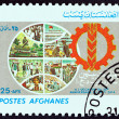 AFGHANISTAN - CIRCA 1985: A stamp printed in Afghanistan issued for the 20th Anniversary of the People's Democratic Party shows Globe and Emblem, circa 1985. — Stock Photo #68743553