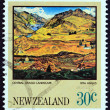 """NEW ZEALAND - CIRCA 1983: A stamp printed in New Zealand from the """"Paintings by Rita Angus """" issue shows Central Otago Landscape, circa 1983. — Stock Photo #68743649"""