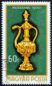 "HUNGARY - CIRCA 1970: A stamp printed in Hungary from the ""Goldsmith Art "" issue shows Altar-cruet, 1500, circa 1970. — Stock Photo"