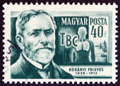 "HUNGARY - CIRCA 1954: A stamp printed in Hungary from the ""Scientists "" issue shows physician Baron Frigyes Koranyi de Tolcsva (1828-1913), circa 1954. — Stock Photo"