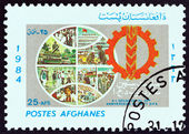 AFGHANISTAN - CIRCA 1985: A stamp printed in Afghanistan issued for the 20th Anniversary of the People's Democratic Party shows Globe and Emblem, circa 1985. — Stock Photo