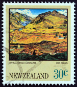 "NEW ZEALAND - CIRCA 1983: A stamp printed in New Zealand from the ""Paintings by Rita Angus "" issue shows Central Otago Landscape, circa 1983. — Stock Photo"