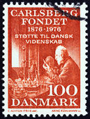 DENMARK - CIRCA 1976: A stamp printed in Denmark issued for the 100th Anniversary of the Carlsberg Foundation shows Professor Emil Hansen, circa 1976. — Stock Photo