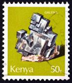 "KENYA - CIRCA 1977: A stamp printed in Kenya from the ""Minerals "" issue shows Galena, circa 1977. — Stock Photo"