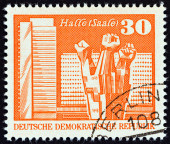 GERMAN DEMOCRATIC REPUBLIC - CIRCA 1973: A stamp printed in Germany shows Workers Memorial, Halle, circa 1973. — Stock Photo