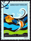 "HUNGARY - CIRCA 1975: A stamp printed in Hungary from the ""International Exposition, Okinawa. Environmental Protection "" issue shows Ocean Pollution, circa 1975. — Stock Photo"