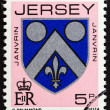 JERSEY - CIRCA 1981: A stamp printed in United Kingdom shows Janvrin Coat of Arms, circa 1981. — Stock Photo #70035407