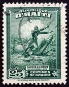 HAITI - CIRCA 1946: A stamp printed in Haiti issued for the 140th Anniversary of the Death of Francois Capois (1766-1806) shows Capois-la-Mort, circa 1946. — Stock Photo