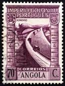 ANGOLA - CIRCA 1938: A stamp printed in Angola shows Barrage, circa 1938. — Stock Photo