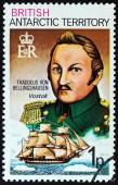 BRITISH ANTARCTIC TERRITORY - CIRCA 1973: A stamp printed in United Kingdom shows Thaddeus von Bellingshausen and Vostok, circa 1973. — Stok fotoğraf
