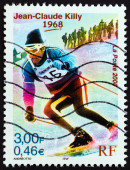 """FRANCE - CIRCA 2000: A stamp printed in France from the """"Sport Events of the 20th Century """" issue shows Jean-Claude Killy (Olympic Gold medalist downhill, giant and special slalom, 1968), circa 2000. — Stockfoto"""