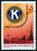 AUSTRIA - CIRCA 1983: A stamp printed in Austria issued for the World and European Conference of Kiwanis International, Vienna shows Kiwanis Emblem and View of Vienna, circa 1983. — Stock Photo