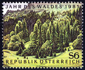 """AUSTRIA - CIRCA 1985: A stamp printed in Austria from the """"Year of the Forest """" issue shows forest, circa 1985. — Stock Photo"""