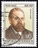 AUSTRIA - CIRCA 1988: A stamp printed in Austria issued for the 150th anniversary of the birth of Ernst Mach shows physicist and philosopher Ernst Mach, circa 1988. — Stock Photo