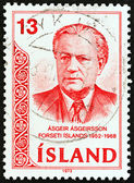 ICELAND - CIRCA 1973: A stamp printed in Iceland issued for the 5th death anniversary of Asgeir Asgeirsson shows President Asgeir Asgeirsson, circa 1973. — Stock Photo