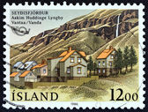 "ICELAND - CIRCA 1986: A stamp printed in Iceland from the ""Northern Edition - Friendship Towns "" issue shows Seydisfjordur, circa 1986. — Stock Photo"