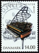 """DENMARK - CIRCA 2014: A stamp printed in Denmark from the """"Music Instruments """" issue shows Grand piano, circa 2014. — Stock Photo"""