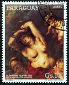 "PARAGUAY - CIRCA 1987: A stamp printed in Paraguay from the ""Rubens Paintings "" issue shows The Brazen Serpent (1635), circa 1987. — Stock Photo"
