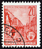"GERMAN DEMOCRATIC REPUBLIC - CIRCA 1955: A stamp printed in Germany from the ""Five Year Plan"" issue shows Stalin Avenue, Berlin, circa 1955. — Stock Photo"