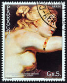 "PARAGUAY - CIRCA 1987: A stamp printed in Paraguay from the ""Rubens Paintings "" issue shows The Coronation of the virtuous heroine, circa 1987. — Stock Photo"