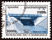 "Cambodja - Circa 1997: Een stempel gedrukt in Kambodja van de ""Public Gardens en Tuk Chha Canal"" kwestie shows Tuk Chha Canal gesloten sluisdeuren, circa 1997. — Stockfoto"