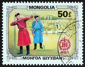 """Mongoliet - ca 1981: En stämpel tryckt i Mongoliet från """"Mongoliska Sport och konst"""" fråga visar bågskyttar och stadium, ca 1981. — Stockfoto"""