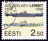 ESTONIA - CIRCA 1996: A stamp printed in Estonia shows submarine Lembit, circa 1996. — Stock Photo