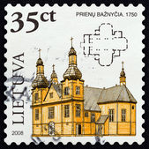 "LITHUANIA - CIRCA 2008: A stamp printed in Lithuania from the ""Wooden Sacral Architecture in Lithuania "" issue shows the church of Prienai, 1750, circa 2008. — Stok fotoğraf"