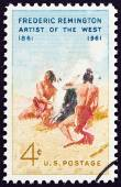 USA - CIRCA 1961: A stamp printed in USA issued for the birth centenary of Frederic Remington shows The Smoke Signal after Remington, circa 1961. — Stock Photo