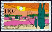 """GERMANY - CIRCA 1997: A stamp printed in Germany from the """"Landscapes """" issue shows Luneburg Heath, circa 1997. — Stock Photo"""