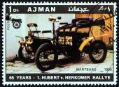 """AJMAN EMIRATE - CIRCA 1970: A stamp printed in United Arab Emirates from the """"65th Anniversary of the Hubert V. Herkomer Rallye"""" issue shows Wartburg of 1898, circa 1970. — Stock Photo"""