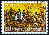 "EQUATORIAL GUINEA - CIRCA 1977: A stamp printed in Equatorial Guinea from the ""Napoleon "" issue shows the Battle of Austerlitz, 1805, circa 1977. — Stock Photo"