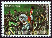 "EQUATORIAL GUINEA - CIRCA 1977: A stamp printed in Equatorial Guinea from the ""Napoleon "" issue shows Speech to the Bavarian Troops, 1809, circa 1977. — Stock Photo"
